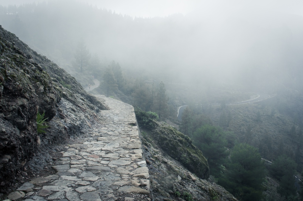 Rock Path In The Mountains On A Misty Day