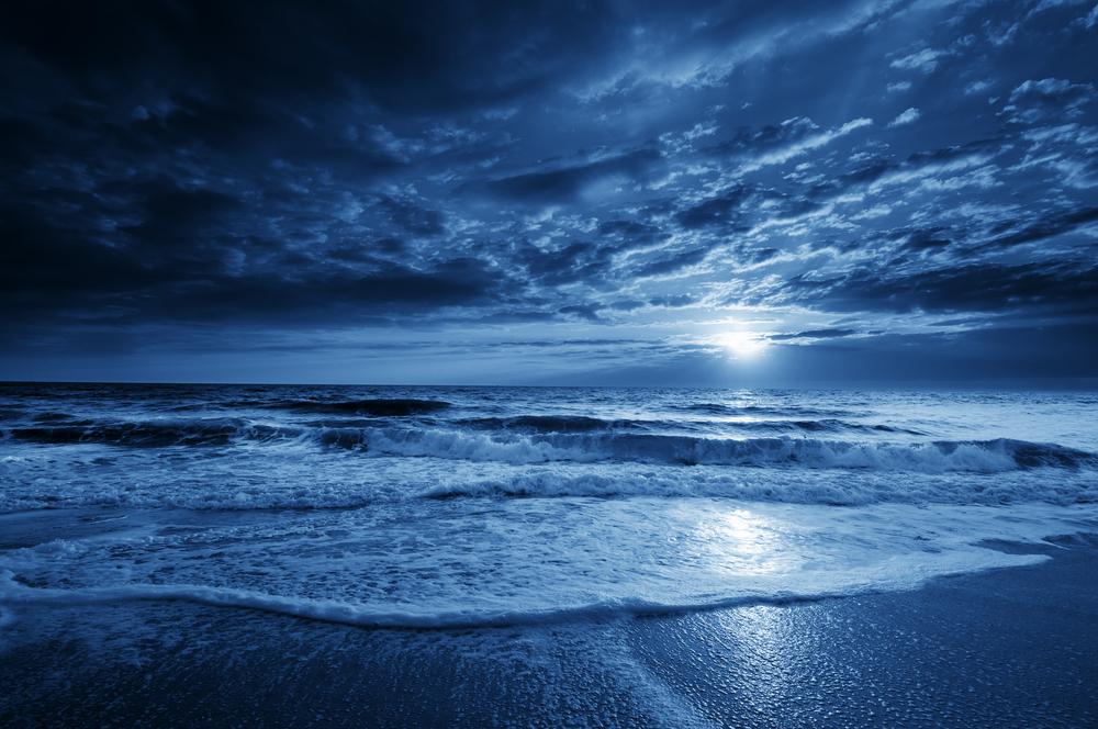 Man Walking On A Moonlit Beach