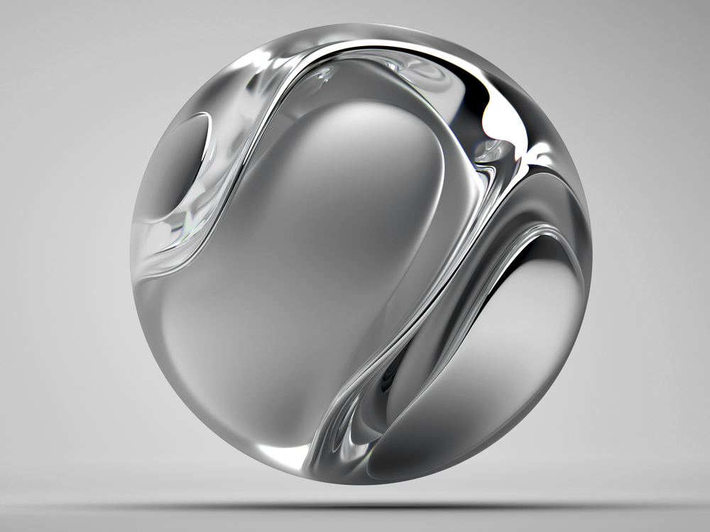 Silver Sphere with Streamlined Sides and a Hole in the Middle.