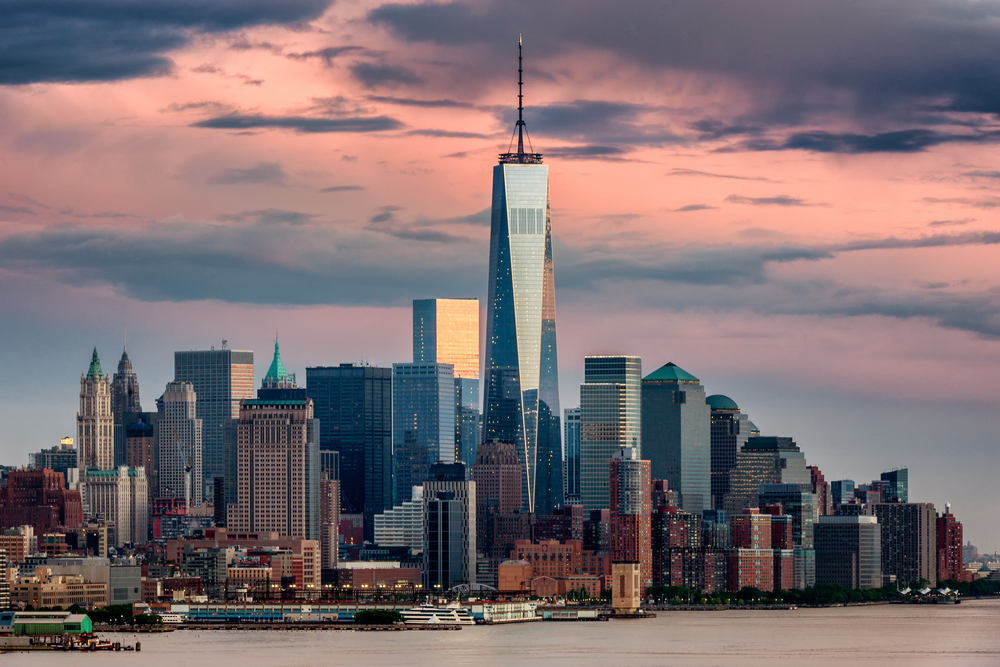 One World Trade Center Building Standing In The Manhattan Skyline